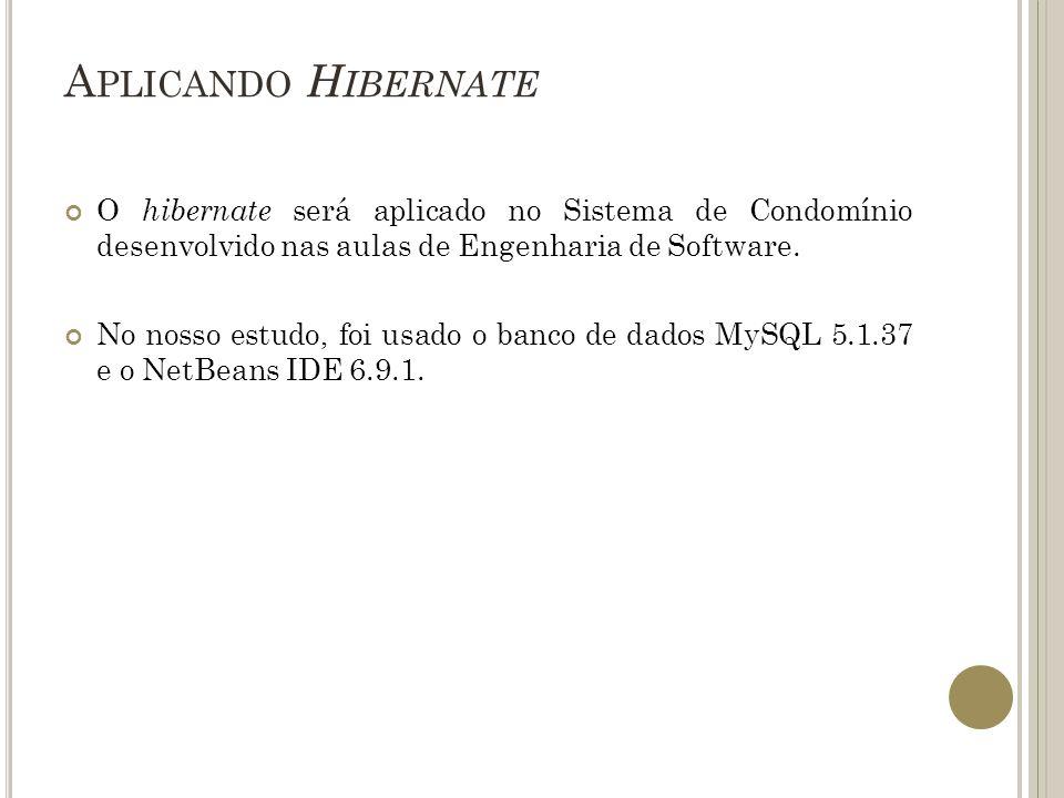 Aplicando Hibernate O hibernate será aplicado no Sistema de Condomínio desenvolvido nas aulas de Engenharia de Software.