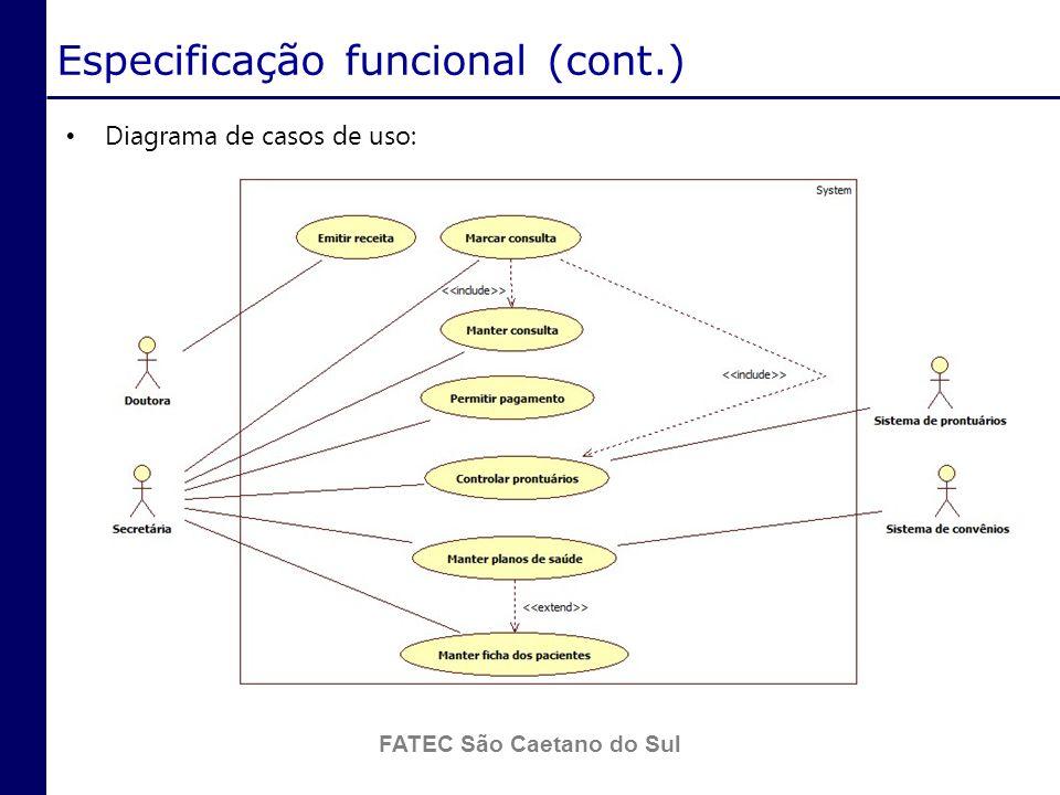 Especificação funcional (cont.)