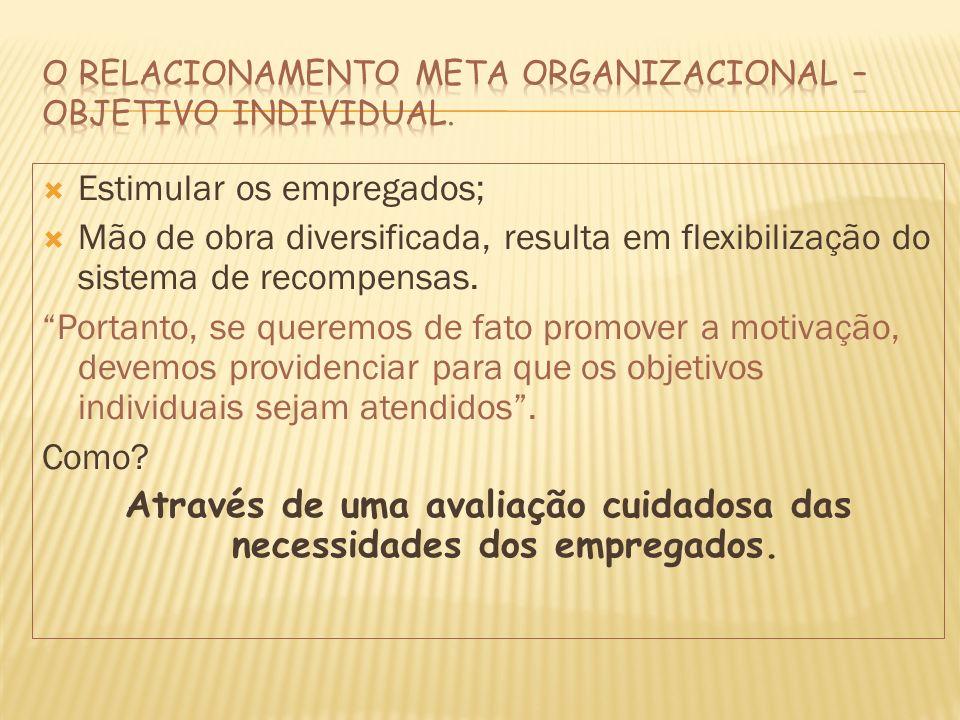 O Relacionamento Meta Organizacional – Objetivo Individual.