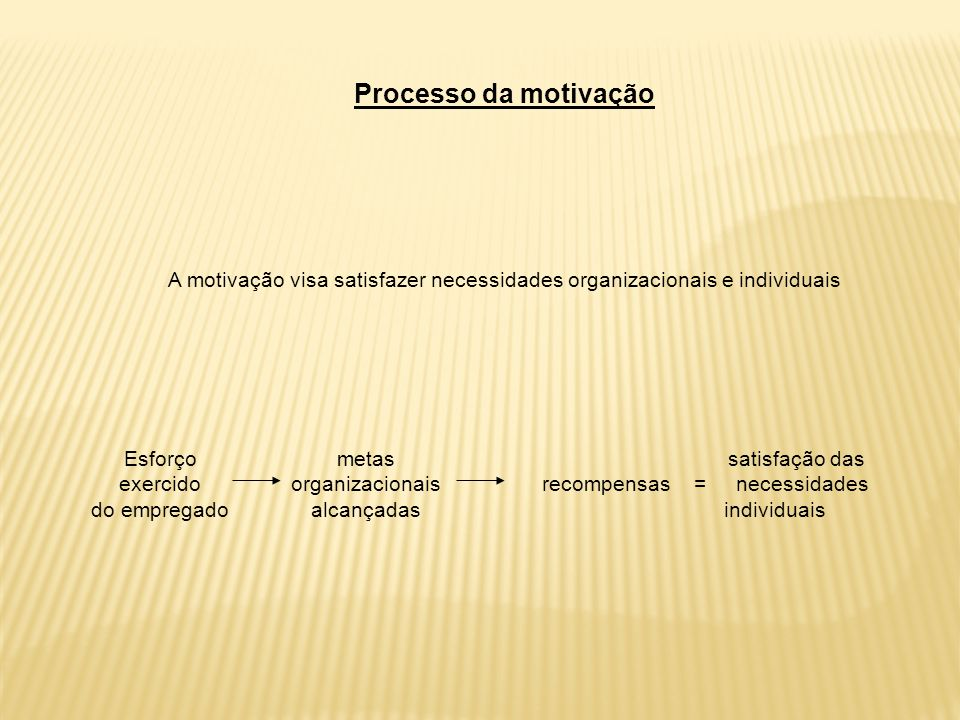 A motivação visa satisfazer necessidades organizacionais e individuais