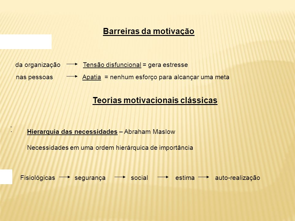Barreiras da motivação Teorias motivacionais clássicas