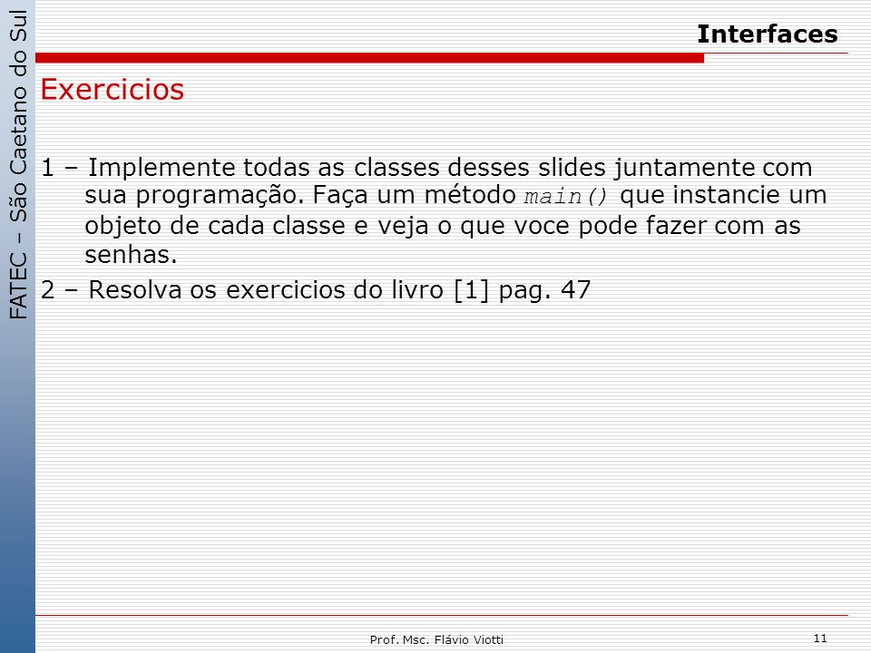 Exercicios Interfaces