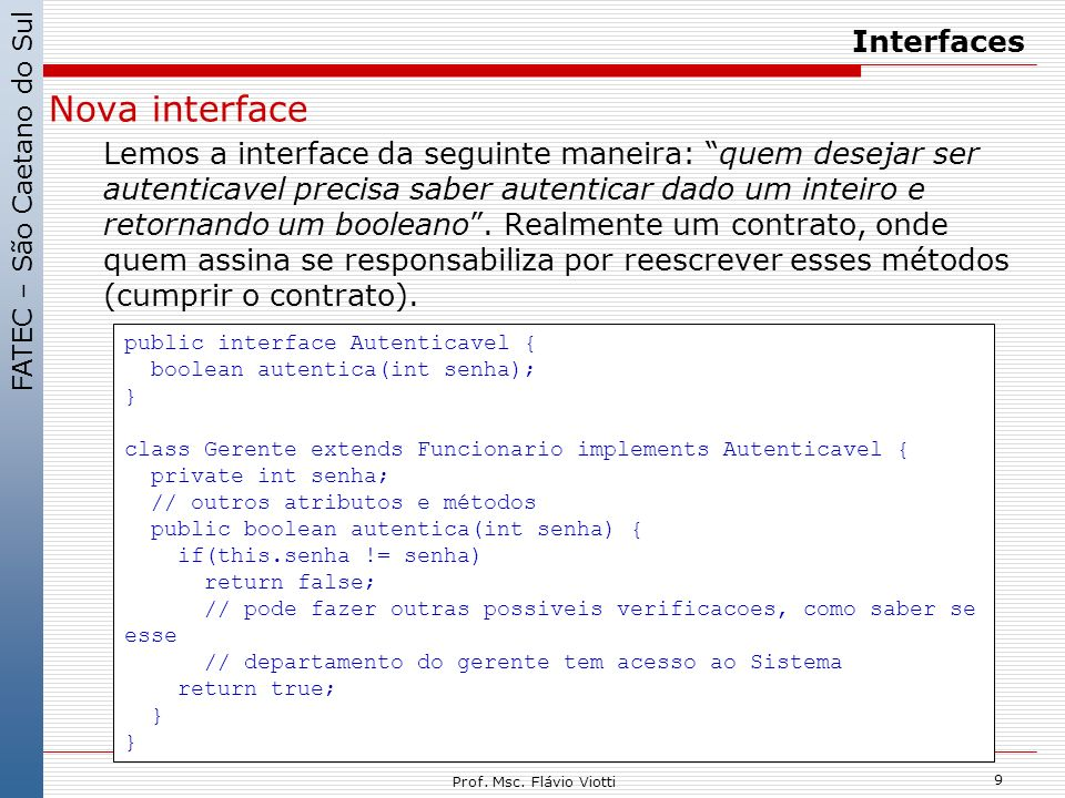 Nova interface Interfaces