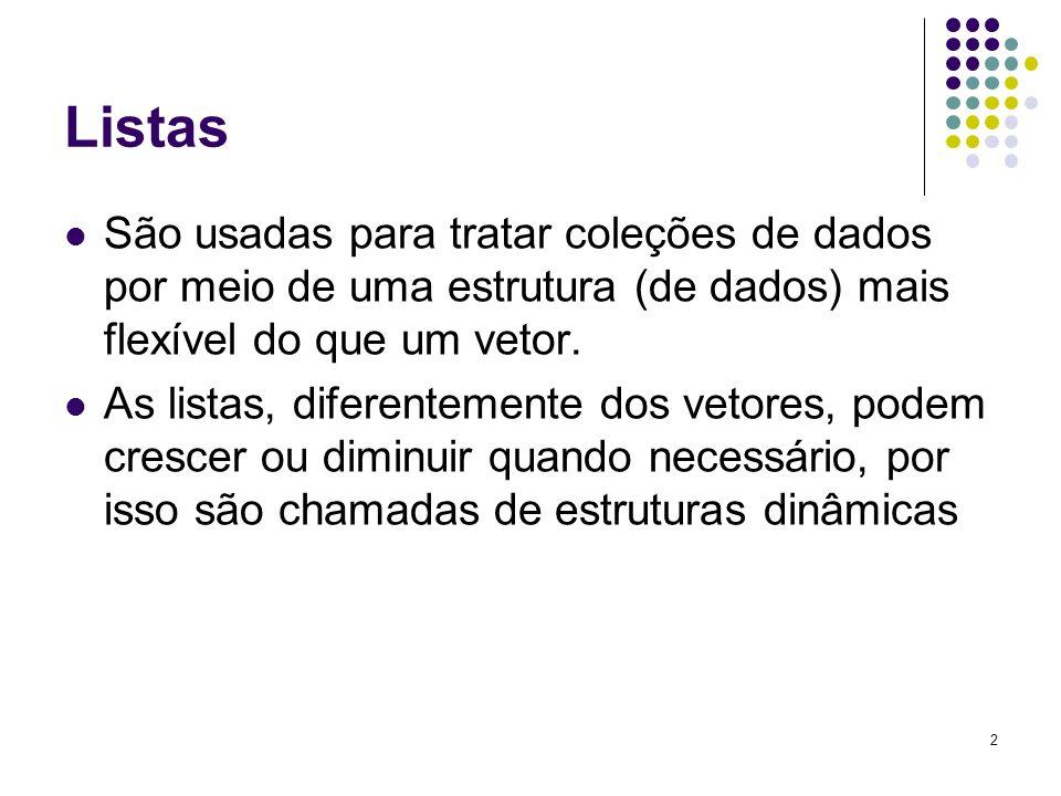 ListasSão usadas para tratar coleções de dados por meio de uma estrutura (de dados) mais flexível do que um vetor.