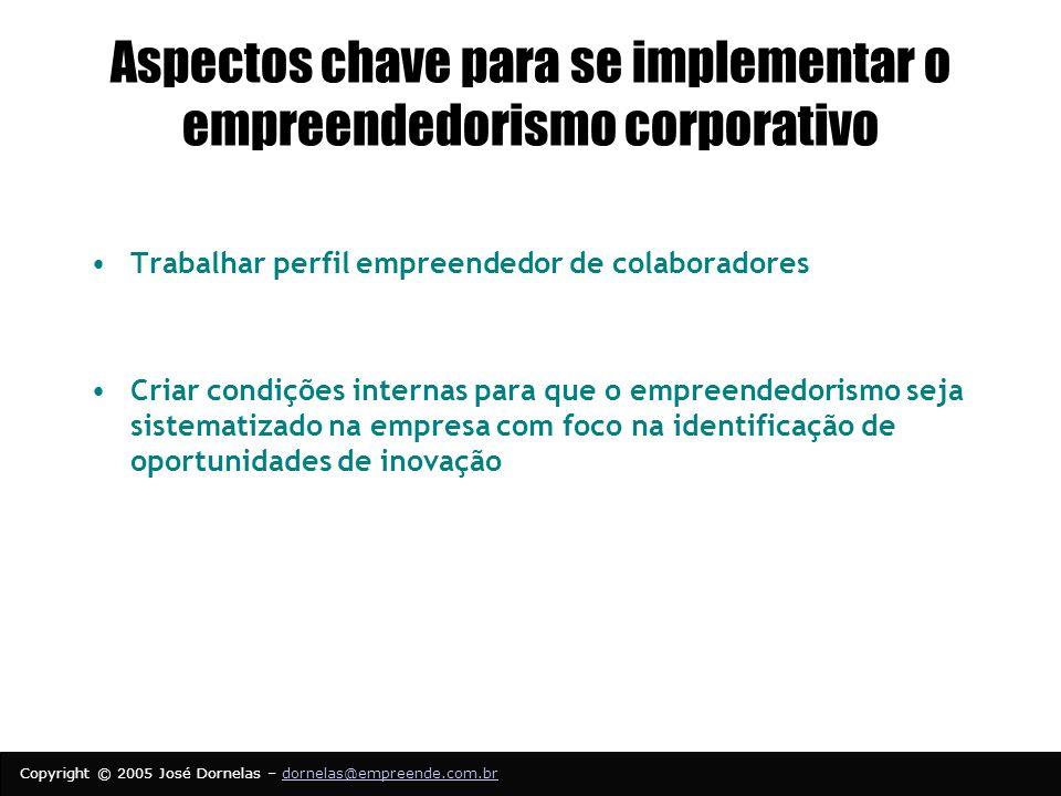 Aspectos chave para se implementar o empreendedorismo corporativo