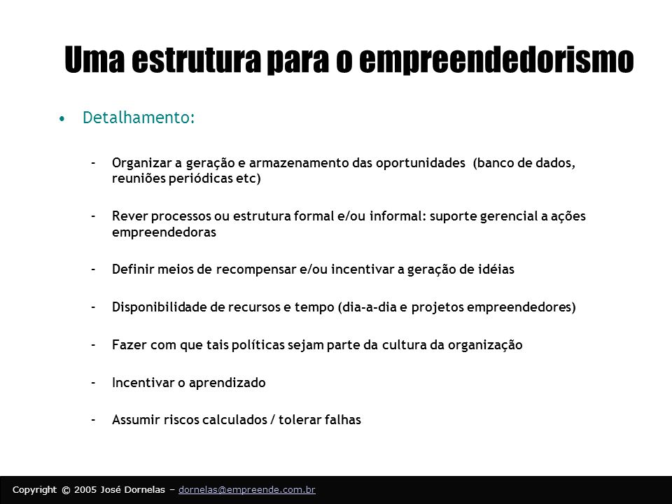 Uma estrutura para o empreendedorismo