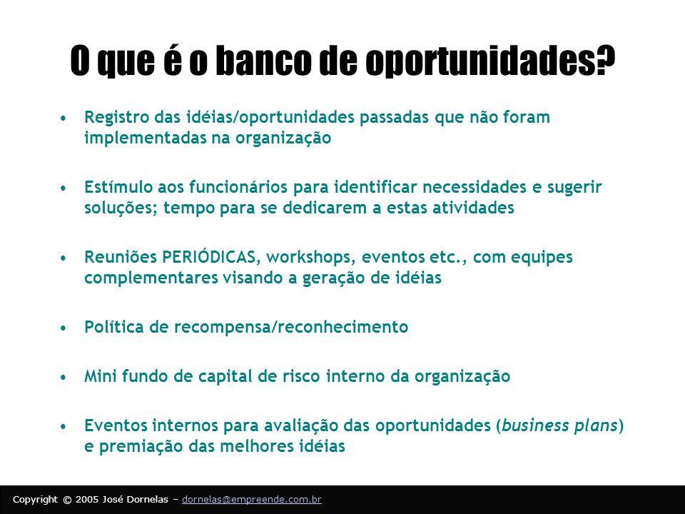O que é o banco de oportunidades