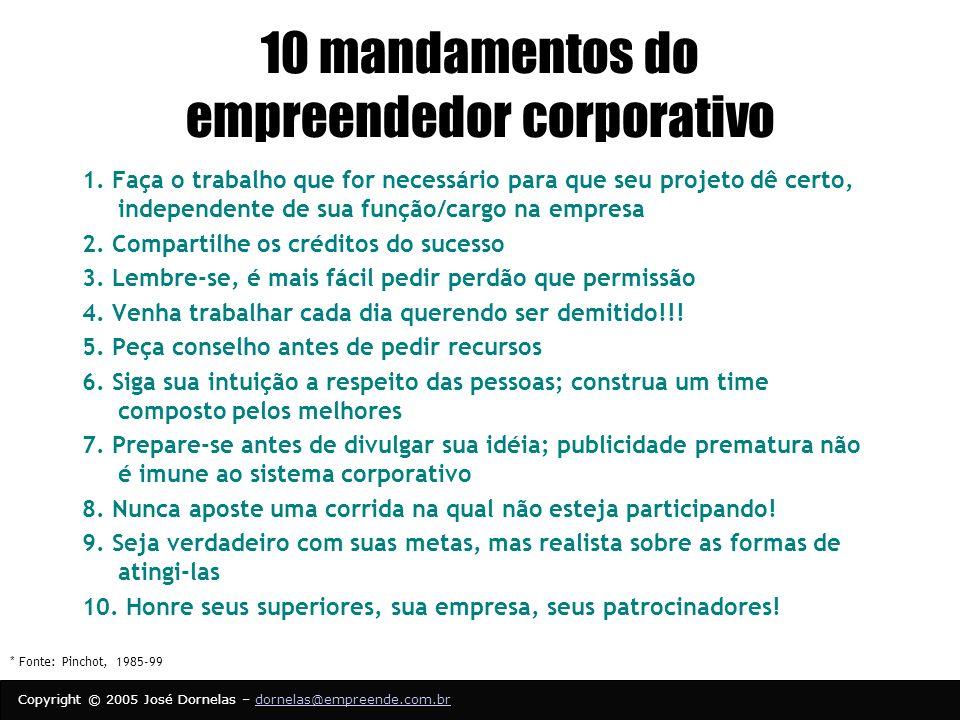 10 mandamentos do empreendedor corporativo