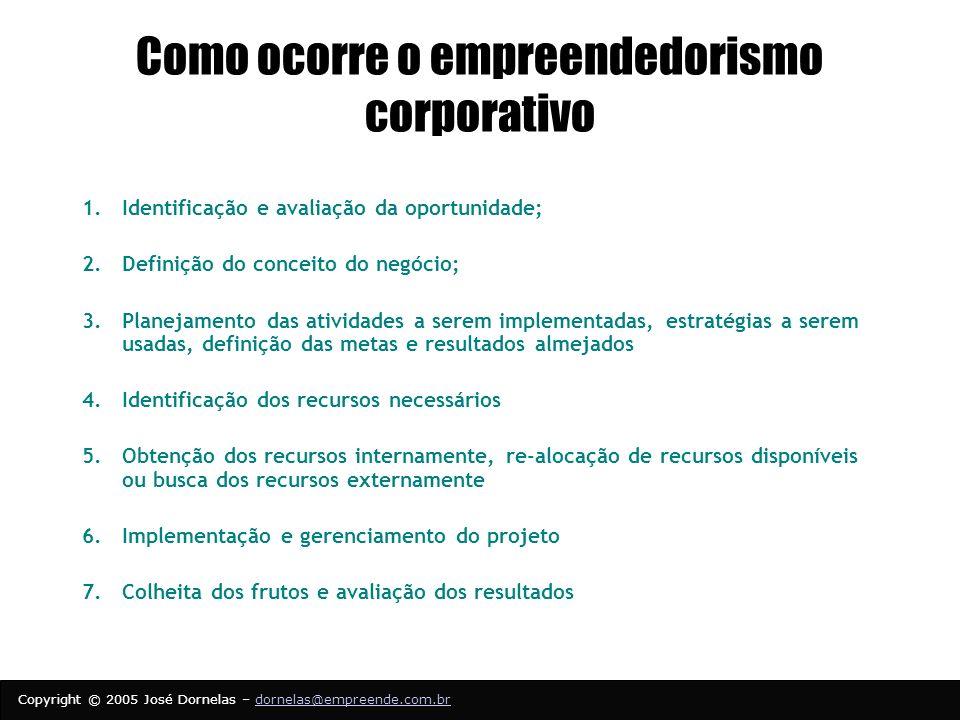 Como ocorre o empreendedorismo corporativo