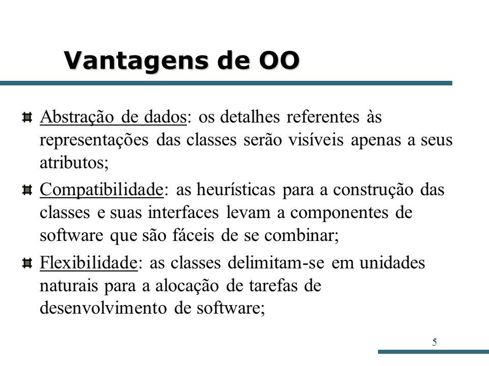 Vantagens de OO Abstração de dados: os detalhes referentes às representações das classes serão visíveis apenas a seus atributos;