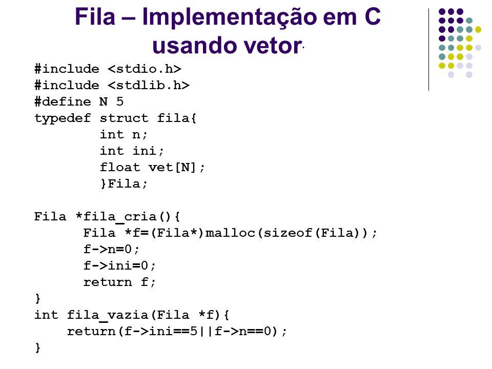 Fila – Implementação em C usando vetor.