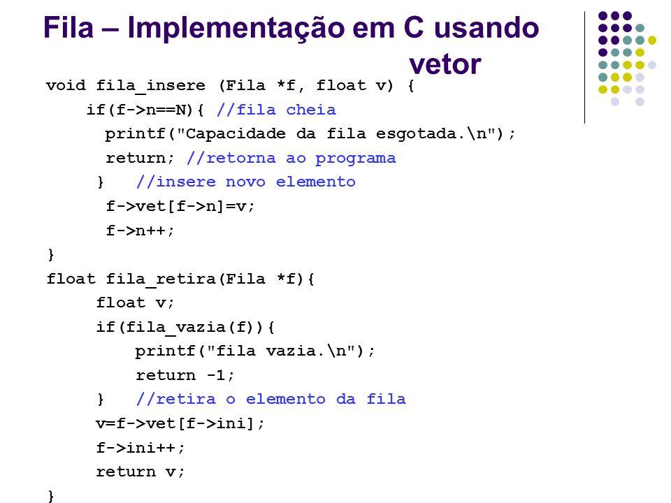Fila – Implementação em C usando vetor