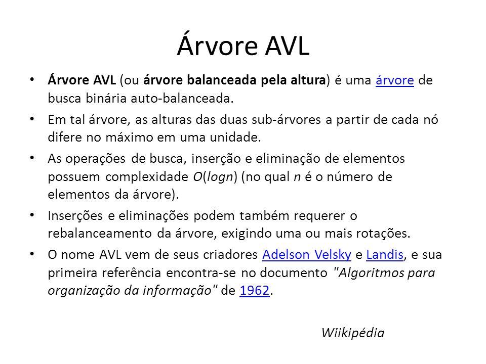 Árvore AVL Árvore AVL (ou árvore balanceada pela altura) é uma árvore de busca binária auto-balanceada.