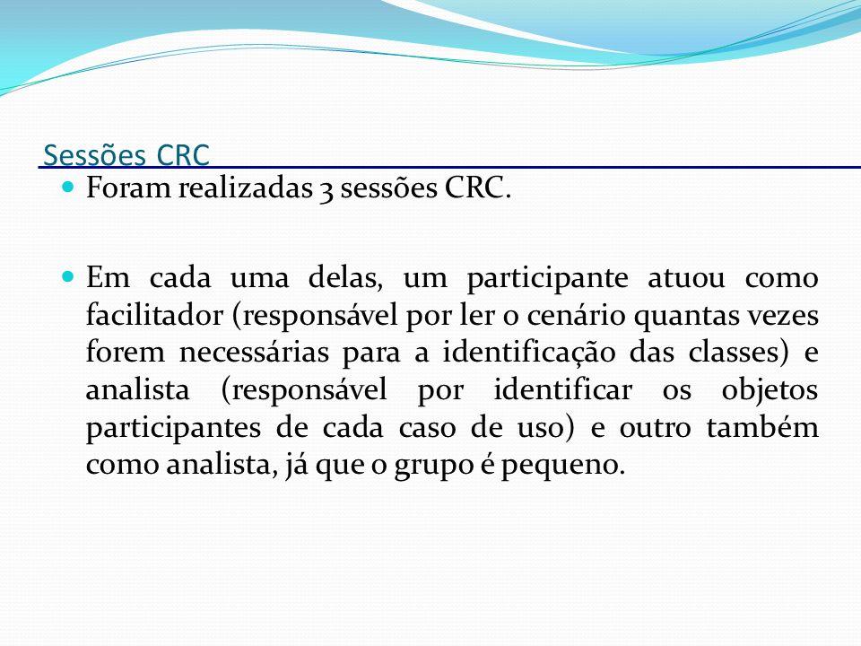 Sessões CRC Foram realizadas 3 sessões CRC.