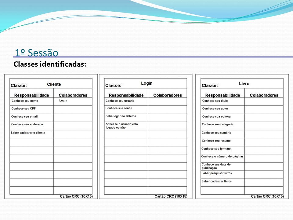 1º Sessão Classes identificadas: