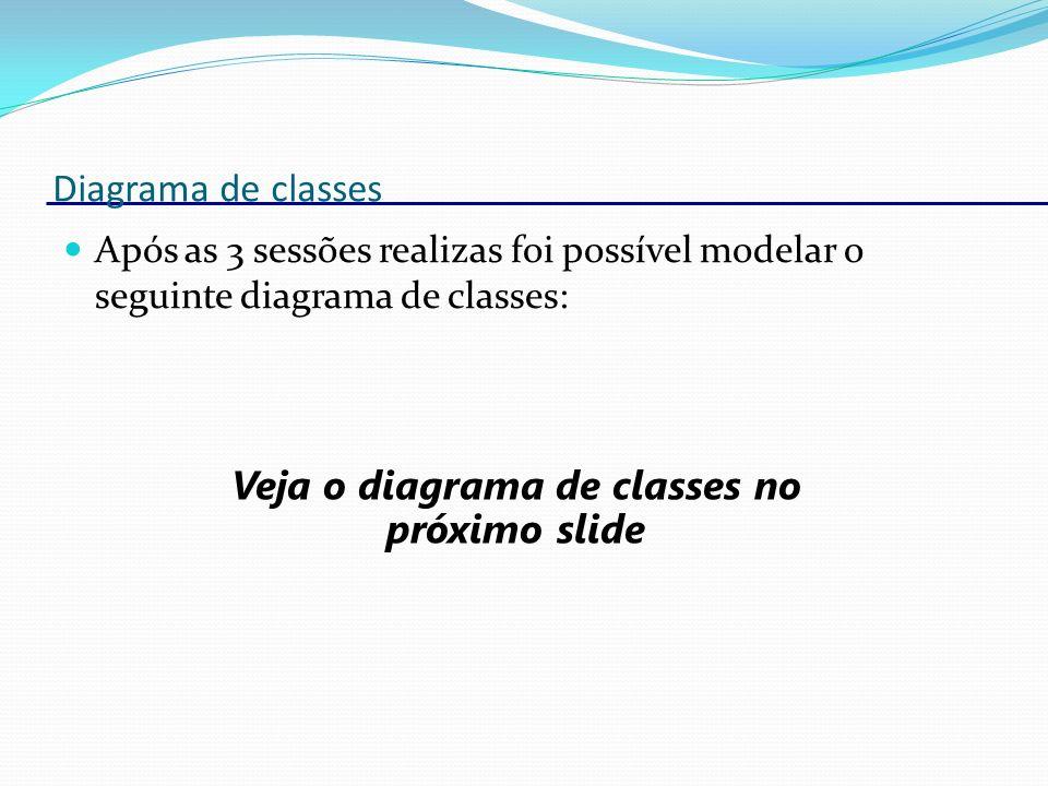 Veja o diagrama de classes no próximo slide