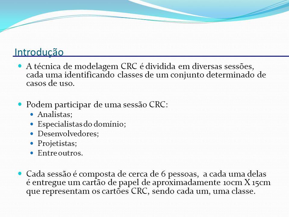 IntroduçãoA técnica de modelagem CRC é dividida em diversas sessões, cada uma identificando classes de um conjunto determinado de casos de uso.