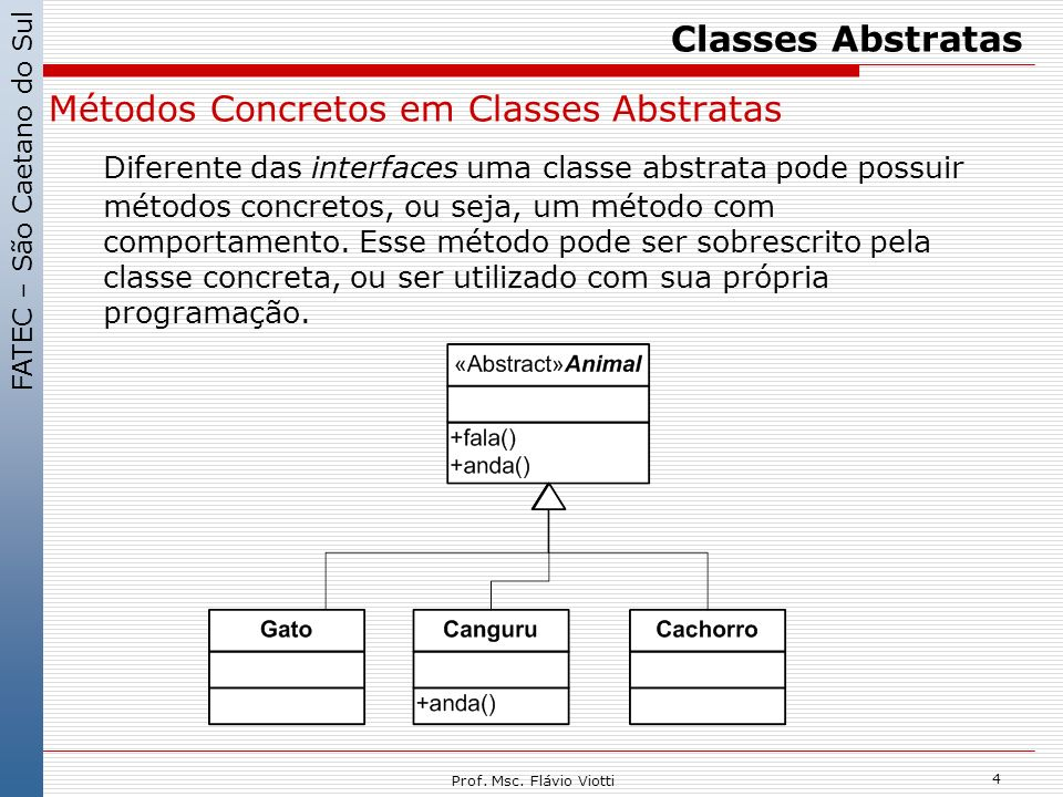 Classes Abstratas Métodos Concretos em Classes Abstratas.