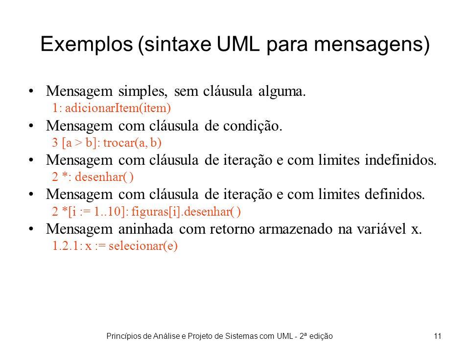 Exemplos (sintaxe UML para mensagens)