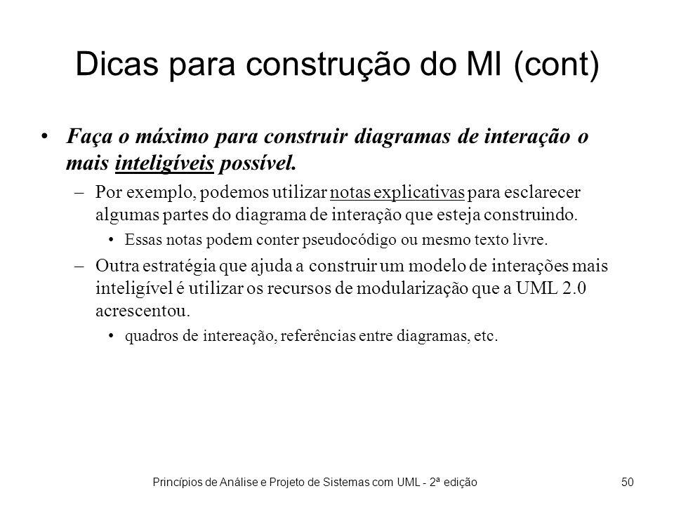 Dicas para construção do MI (cont)