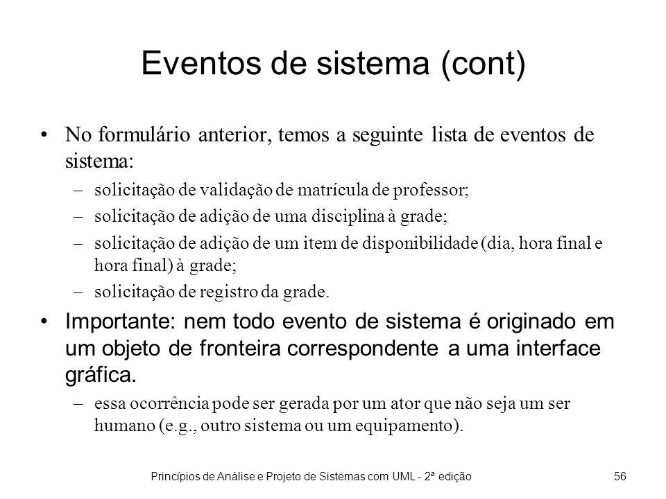 Eventos de sistema (cont)