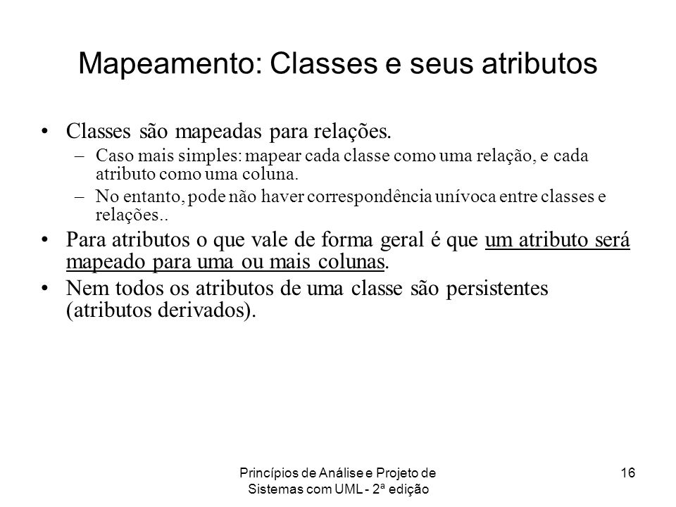 Mapeamento: Classes e seus atributos