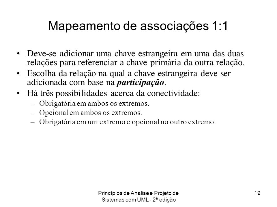 Mapeamento de associações 1:1