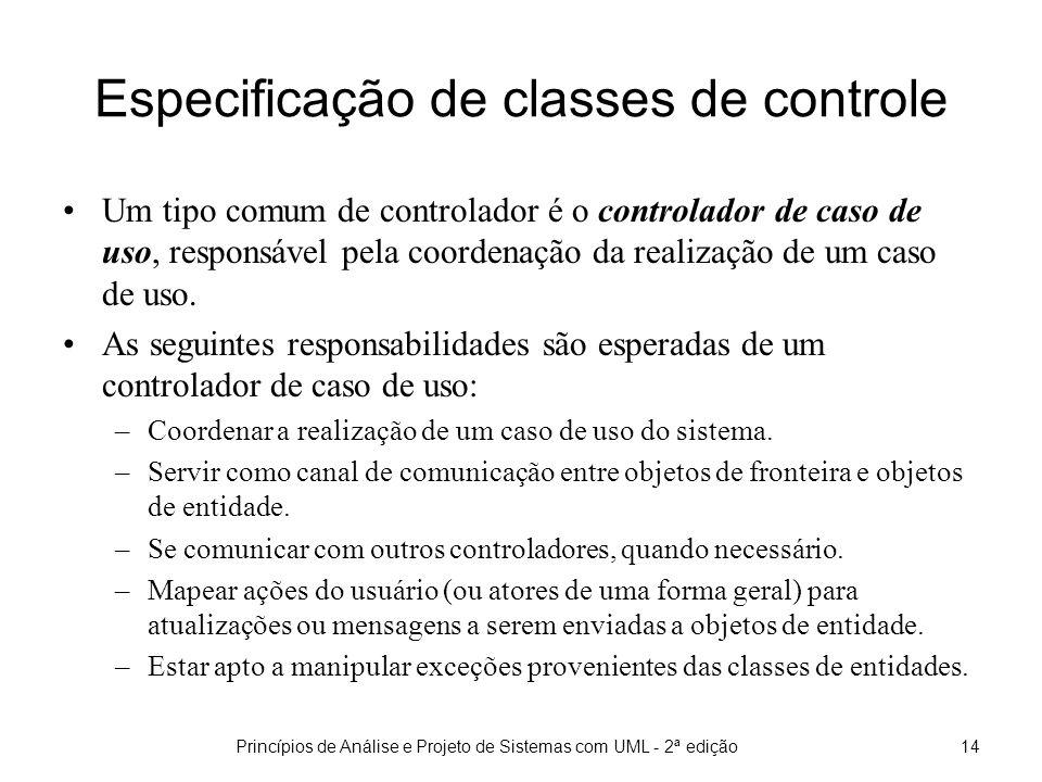 Especificação de classes de controle