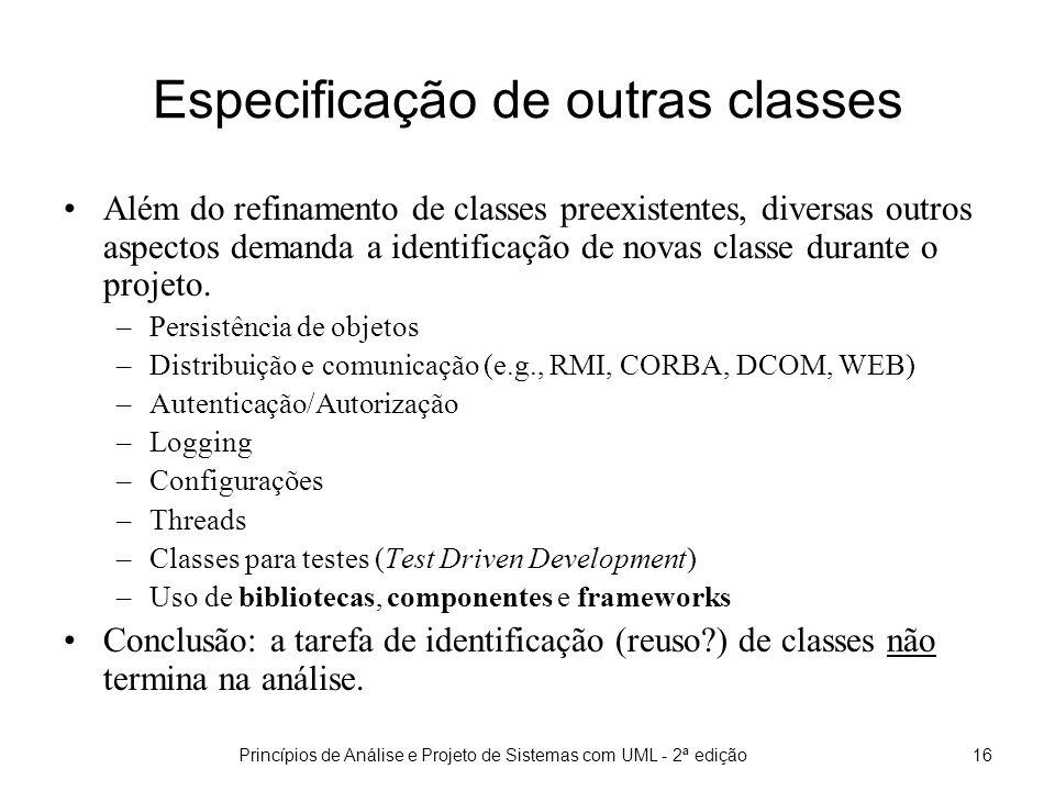 Especificação de outras classes