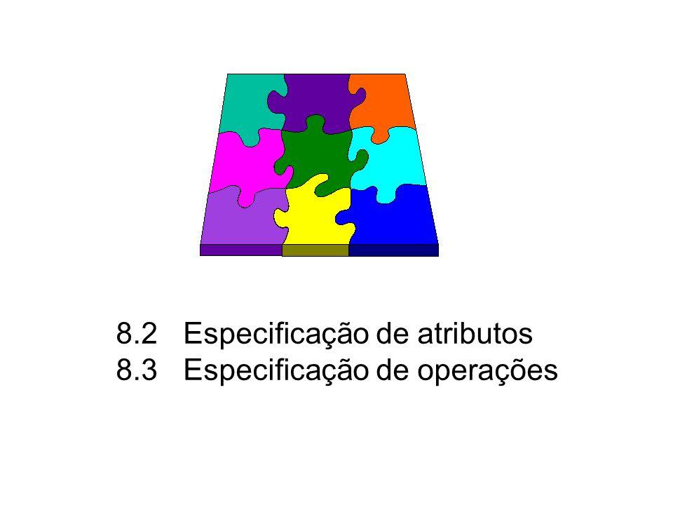 8.2 Especificação de atributos 8.3 Especificação de operações