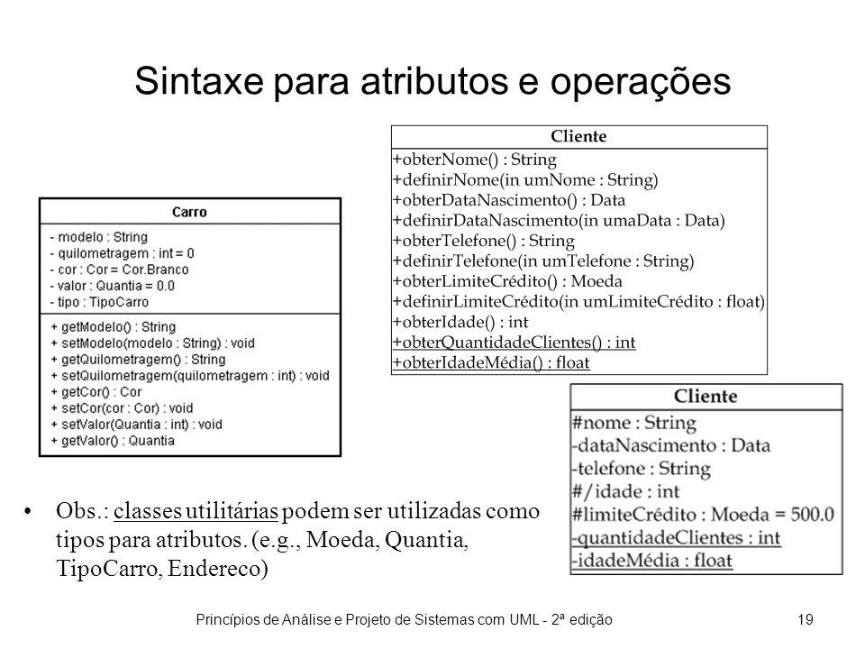 Sintaxe para atributos e operações