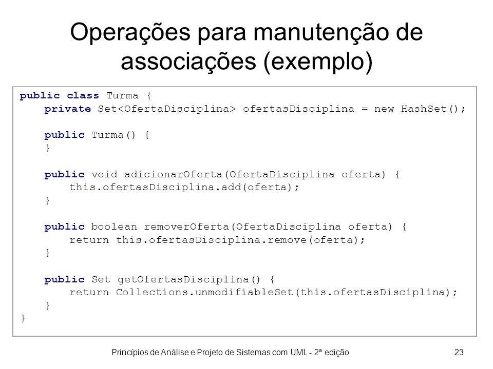 Operações para manutenção de associações (exemplo)