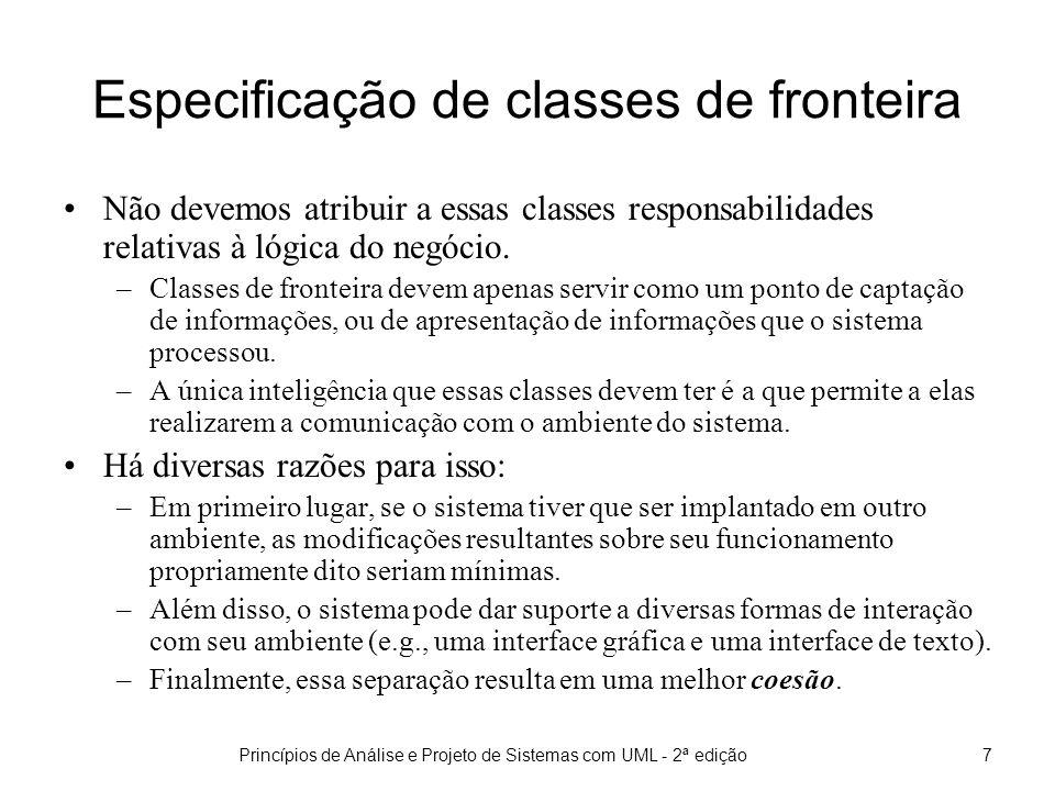 Especificação de classes de fronteira