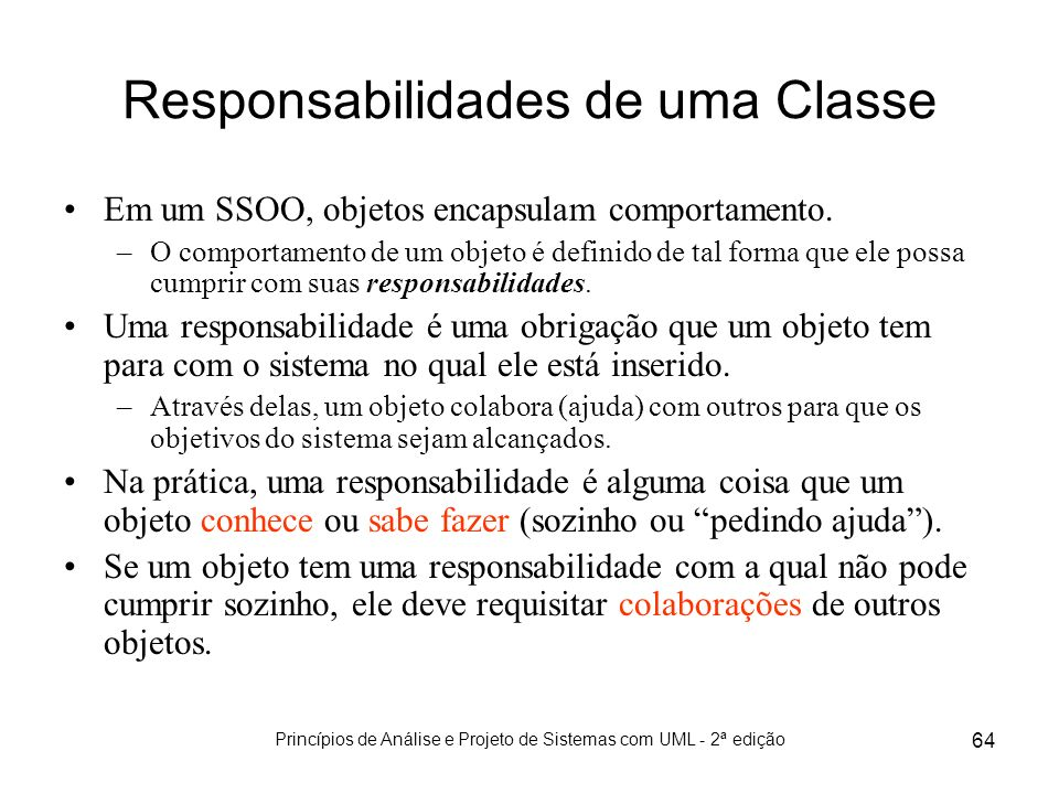 Responsabilidades de uma Classe