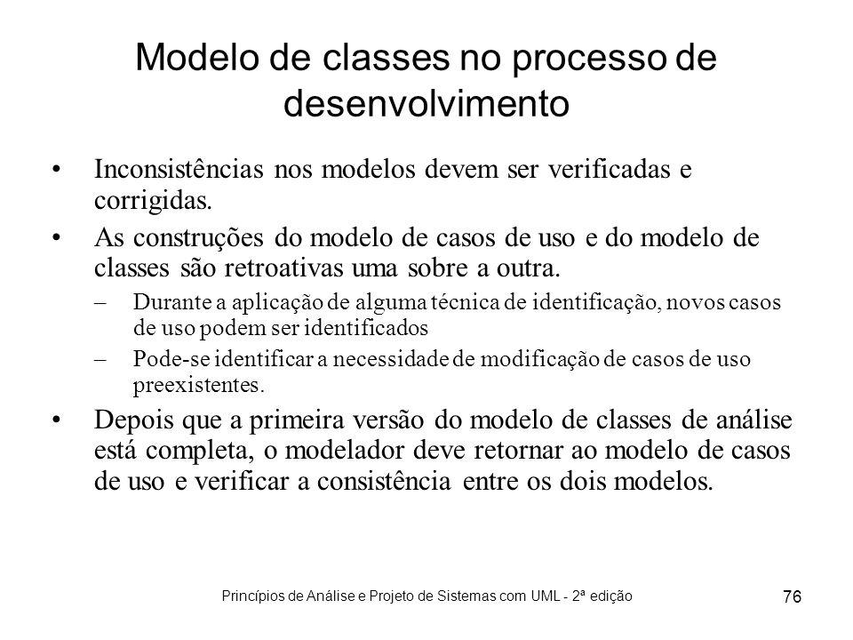 Modelo de classes no processo de desenvolvimento