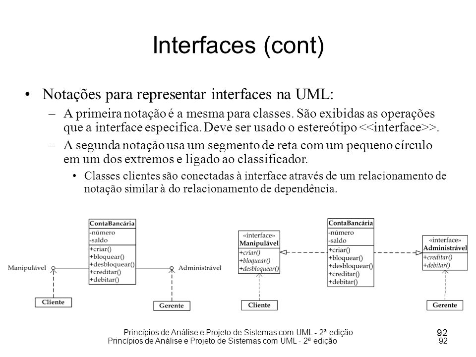 Interfaces (cont) Notações para representar interfaces na UML: