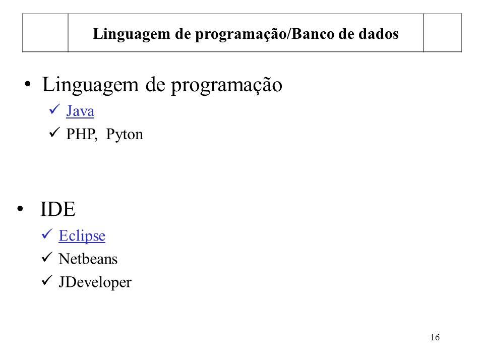 Linguagem de programação/Banco de dados