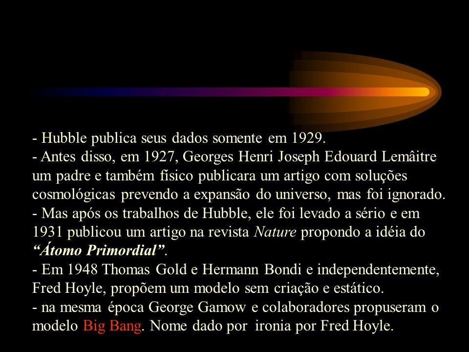 - Hubble publica seus dados somente em 1929.