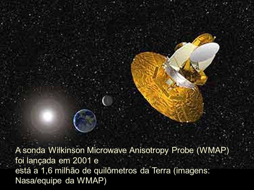 A sonda Wilkinson Microwave Anisotropy Probe (WMAP) foi lançada em 2001 e está a 1,6 milhão de quilômetros da Terra (imagens: Nasa/equipe da WMAP)