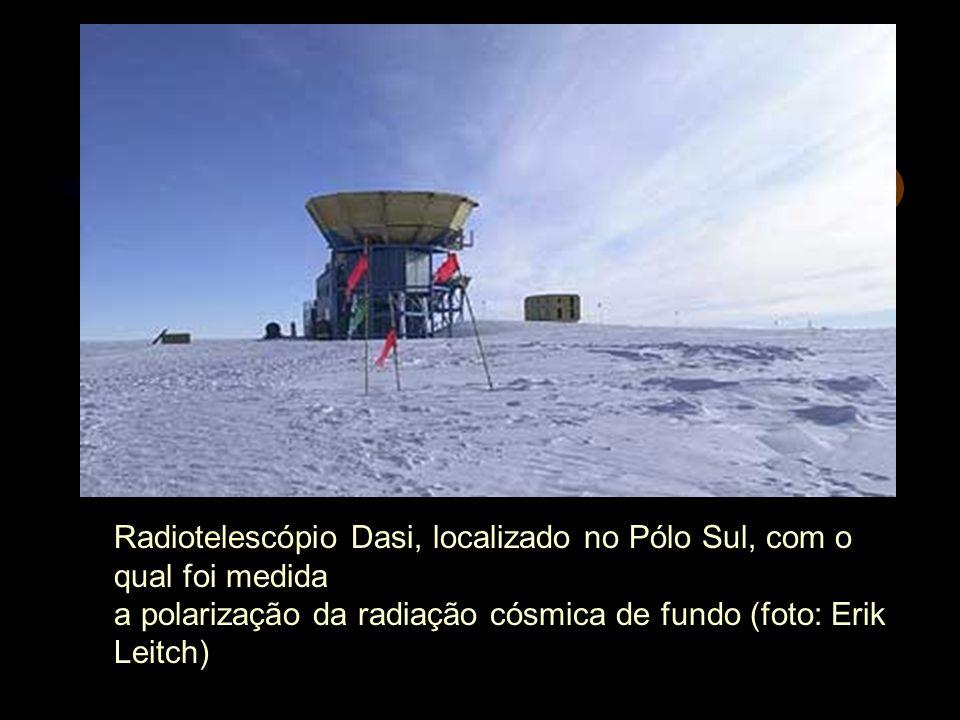 Radiotelescópio Dasi, localizado no Pólo Sul, com o qual foi medida a polarização da radiação cósmica de fundo (foto: Erik Leitch)
