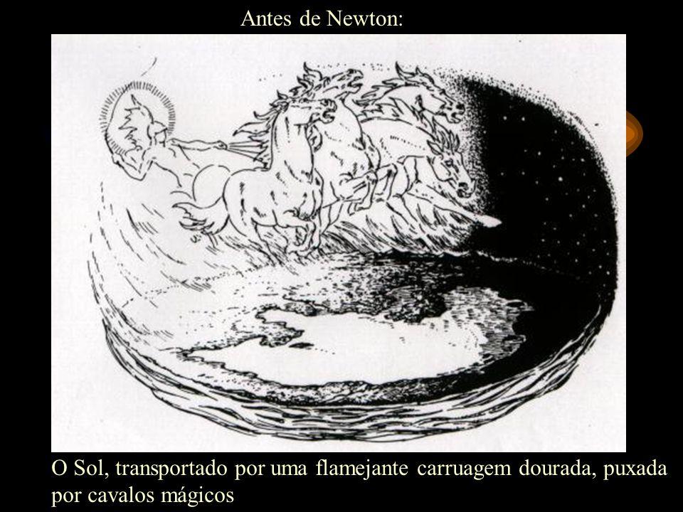 Antes de Newton: O Sol, transportado por uma flamejante carruagem dourada, puxada por cavalos mágicos.