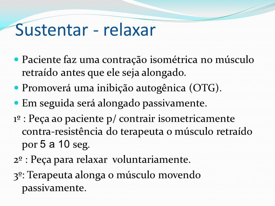 Sustentar - relaxar Paciente faz uma contração isométrica no músculo retraído antes que ele seja alongado.
