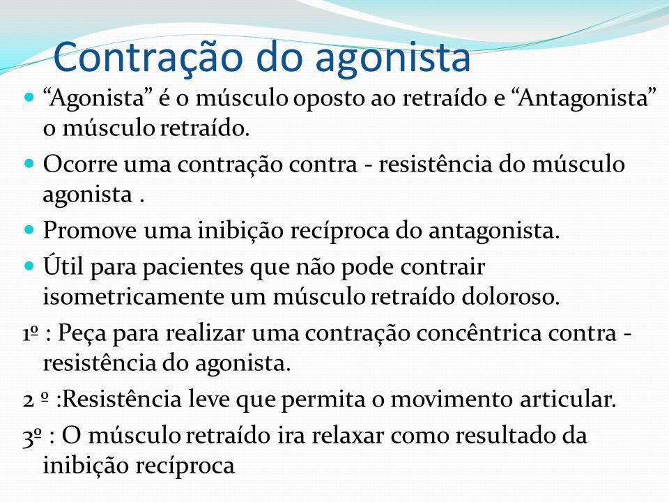 Contração do agonista Agonista é o músculo oposto ao retraído e Antagonista o músculo retraído.