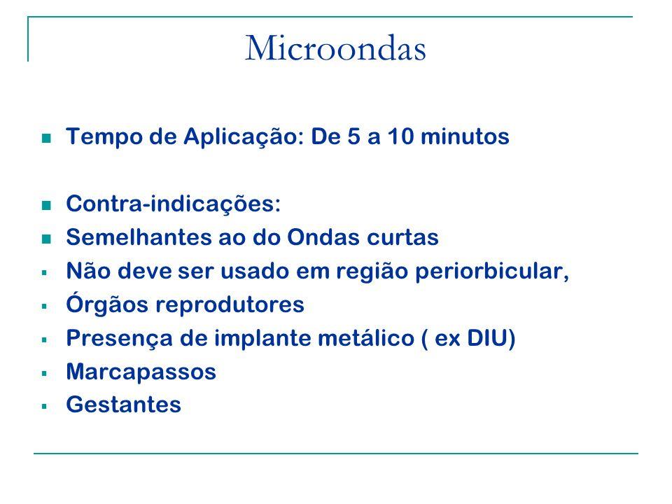 Microondas Tempo de Aplicação: De 5 a 10 minutos Contra-indicações: