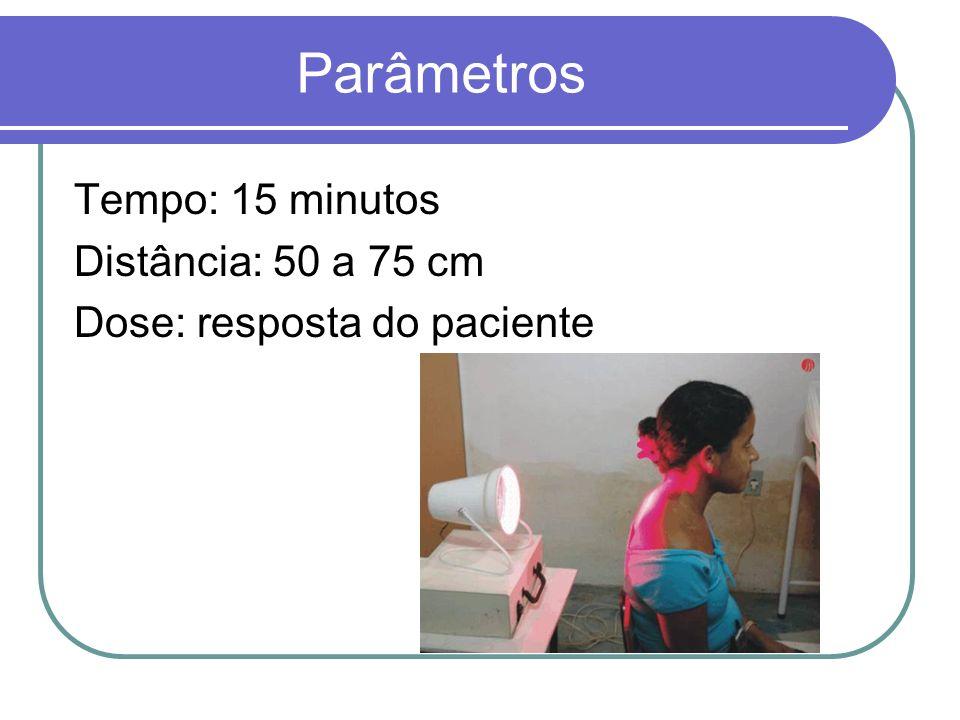 Parâmetros Tempo: 15 minutos Distância: 50 a 75 cm