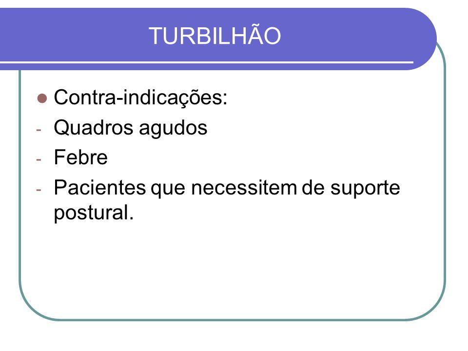 TURBILHÃO Contra-indicações: Quadros agudos Febre