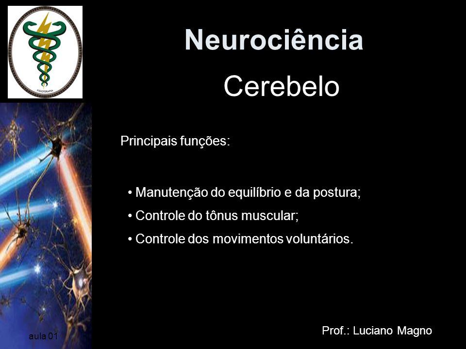 Neurociência Cerebelo Principais funções: