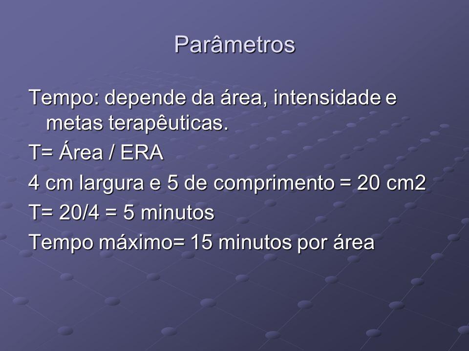 Parâmetros Tempo: depende da área, intensidade e metas terapêuticas.