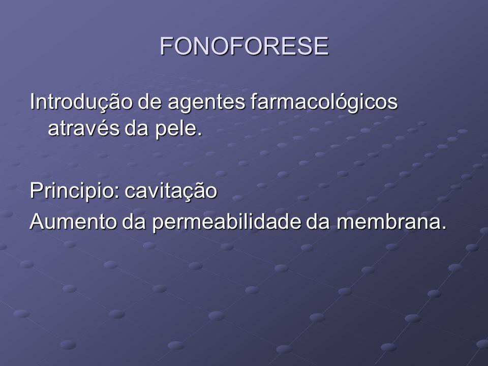 FONOFORESE Introdução de agentes farmacológicos através da pele.