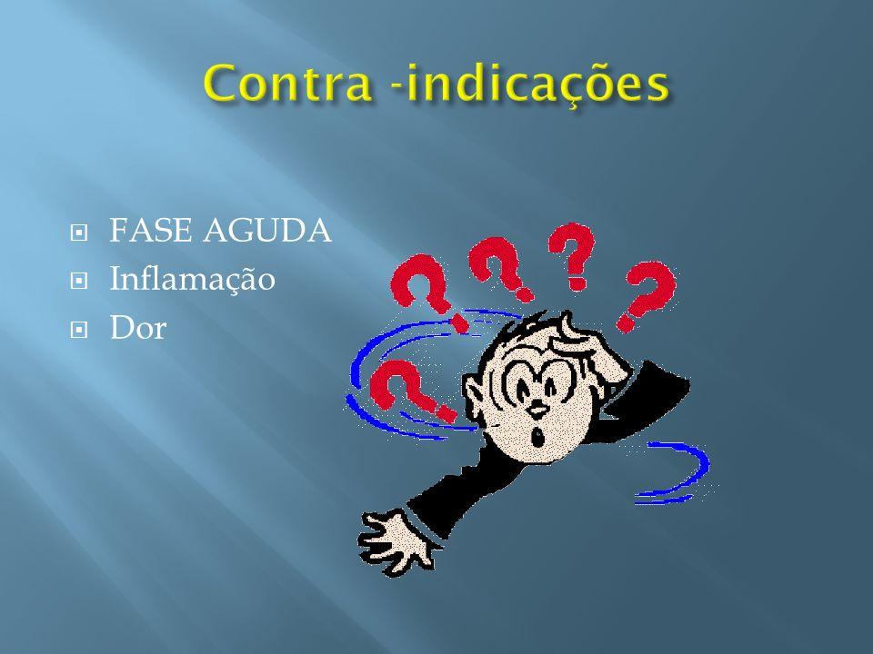 Contra -indicações FASE AGUDA Inflamação Dor